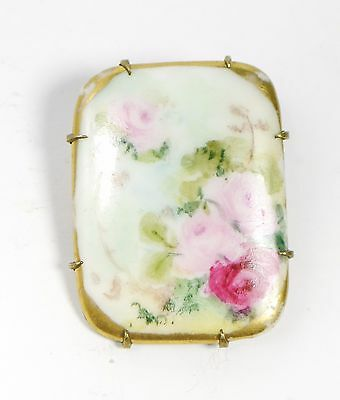 Antique Victorian square Porcelain Floral Pin Brooch Hand Painted Pink Flowers