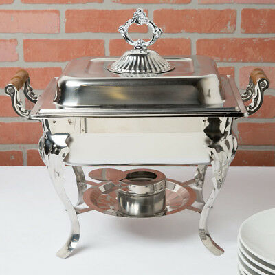 4 Pack Choice Classic Half Size 4 Qt. Stainless Steel Chafing Dishes Catering