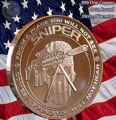 SNIPER 1 oz .999 Copper Round