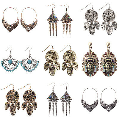 Women Vintage Bohemian Boho Charm Alloy Carved Flowers Punk Dangle Earrings Gift