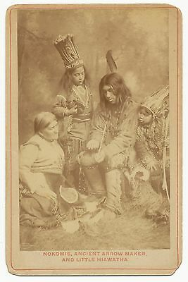 Antique Cabinet Photo 4 Ojibway Native American Indians Alfred S. Campbell RARE!