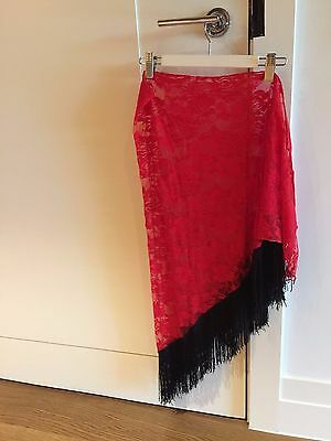 Red lace with black tassles hip scarf skirt wrap