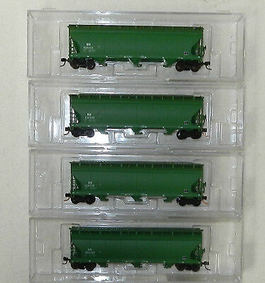 4 x InterMountain N Scale Burlington Northern 3 Bay Covered Hoppers