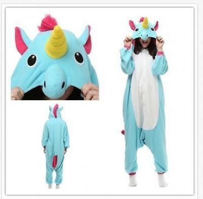 Unicorn Fashion Cosplay Cute Hoodies Pajama Winter Sleepwear Coverall Jumpsuit L