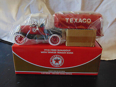 Texaco 1918 Ford Runabout With Tanker Trailer Bank Collectible Great Gift!