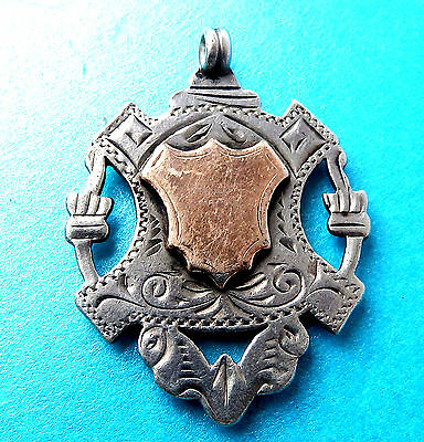 Antique Silver & Gold Watch Fob,openwork,large Engraved,double Sided Dated 1903