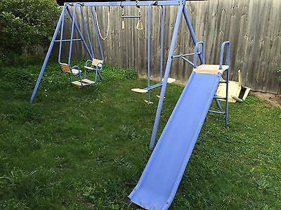Hills Playtime Swing Set - 4 Bay With Slide - Blue & Yellow - Used