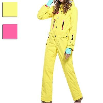 Newly Women Ski Clothes One Piece Pant Jacket Combo Winter Snowboarding Suit