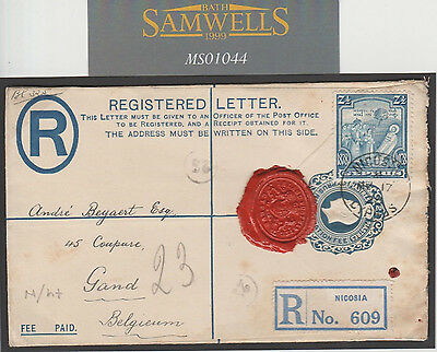 MS1044 1928 CYPRUS KGV STATIONERY Superb *ISLAND POSTMASTER* Wax Seal Cover Gand