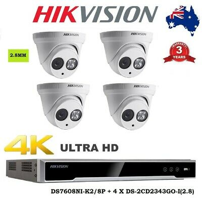 Hikvision Kits Hdmi Ds-7608Ni-I2/8P+4Pcs 4.0Mp Ds-2Cd2342Wd-I Turret Camera Cctv