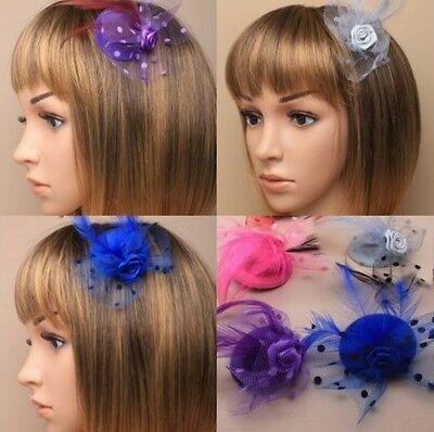 Pack Of 20 Mini Hat Fascinators / Hair Clips, Wholesale, Bulk : 9817 Pk/bl/sg/pp