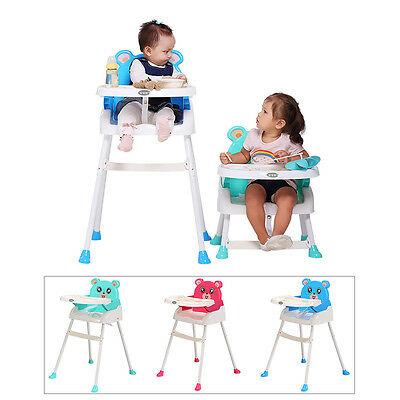 4 IN 1 Baby  High Chairs FOLDABLE BABY FEEDING HEIGHT ADJUSTABLE HIGH CHAIR UK