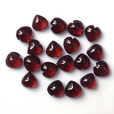 5X5 MM Heart Natural Calibrated African Red Garnet Cabochon 19 Pieces Stone Lot