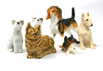 Vintage Collection Small Dog Figurines Ornaments  Set of 6 Job Lot