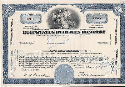 Stock certificate Gulf States Utilities Compan. Texas 100 shares 1959