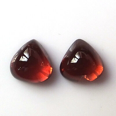 7X7 MM Heart Cut Natural Unheated African Red Garnet Cabochon 2 Pieces Stone Lot