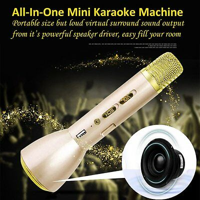 Golden Karaoke Wireless Bluetooth Microphone Speaker For Android IOS