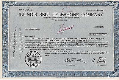 Lot of 2. Stock certificate Illinois Bell Telephone Company  100 shares 1972
