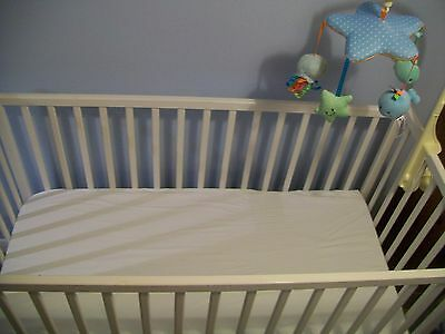 White cot Kiddicare Kiddy care with Mothercare mattress  plus Mobile baby ocean