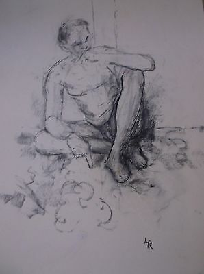 GRAPHITE DRAWING signed/circa 1960s A LIFE STUDY OF A NUDE MALE