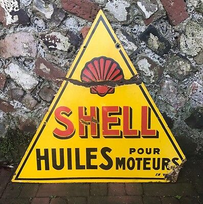 Genuine Vintage Shell Sign - French - Enamel - Man Cave - Garage - Not Replica