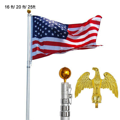 16' 20' 25' Flag Pole Kit Aluminum Telescopic Flagpole 3'x5' American U.S Flag