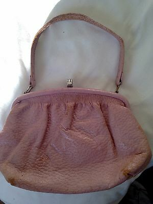 Pale Pink Dimpled Leather 1940s Vintage Clutch Hand Bag