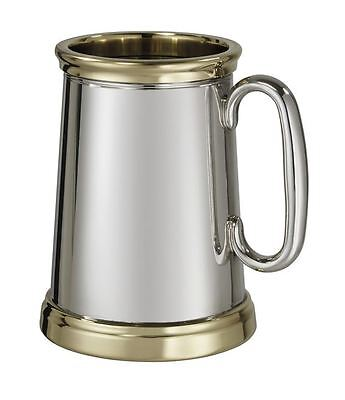 1 Pint X-Range Wortley Brass Trim Pewter Tankard With Free Engraving