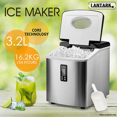 LANTARK Stainless Steel Table Top LCD Ice Cube Maker Machine16.2KG in 24hrs
