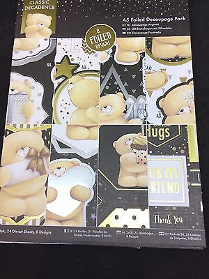 A5 Foiled Decoupage Pack 24 Sheets 8 Designs Teddy Bear Designs Black & Gold New