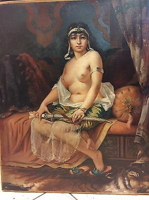 Orientalist Nude Oil Painting Of Arab Harem Lady With Yatagan By C.h.cordier
