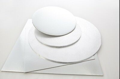 "Silver Round Square Cake Boards, Thin, Strong 6"" 8"" 10"" 12"""