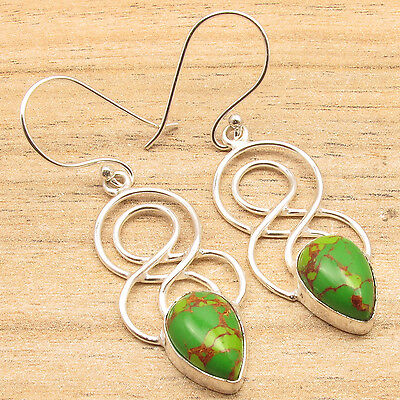 Green Copper Turquoise Pear Gems Beautiful New Design Earrings 925 Silver Plated