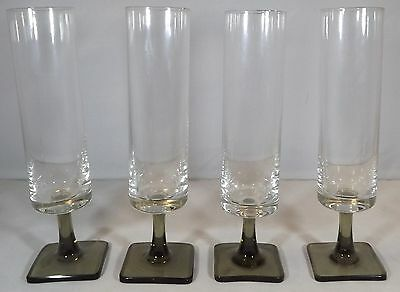 Set Of Four Vintage Rosenthal Linear Smoke Champagne Flutes Glasses Square Base