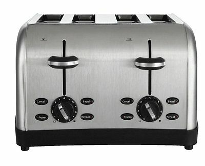 Kitchen Toaster 4 Slice Commercial Chrome Bread Restaurant Automatic Bagel NEW