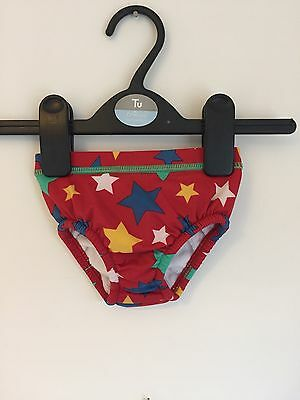 M&S 3-6 Months Baby Boys Swimming Shorts Pants Built In Swim Nappy Red Stars