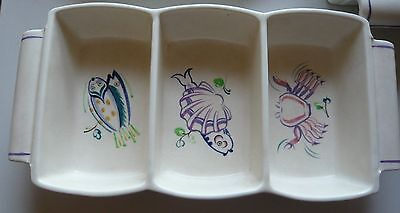 Rectangular Haskins Poole Pottery Hors d'oeuvres Dish Seafood Pattern 2