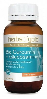 Herbs Of Gold - Bio Curcumin + Glucosamine Tablets - All Sizes + Free Post