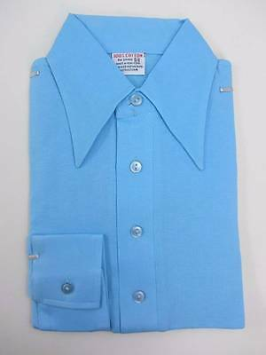 Vintage boys shirt sky blue long sleeved ages 12-13 70's NWT's pointed collar
