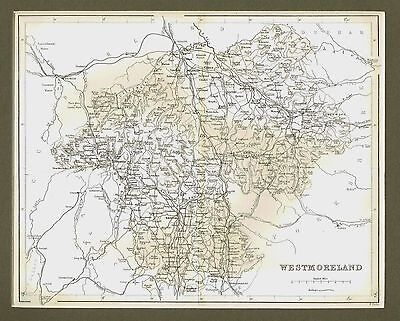 "Map of Westmorland, North West England - By William Hughes - c1845 - 11"" x 14"""