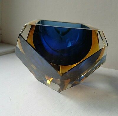 Vintage Murano Sommerso Blue & Yellow Faceted Glass Dish