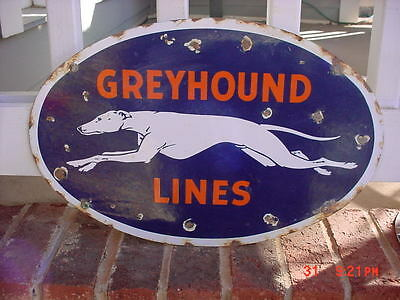 Greyhound Bus Porcelain Sign Bus Station Sign Greyhound Lines