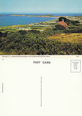 1980's OVERLOOKING ROCQUAINE BAY GUERNSEY CHANNEL ISLANDS  COLOUR POSTCARD
