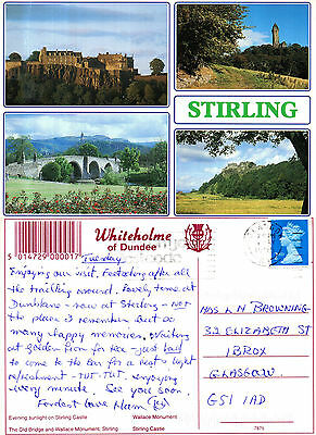 1990's MULTI VIEWS OF STIRLING STIRLINGSHIRE SCOTLAND COLOUR POSTCARD
