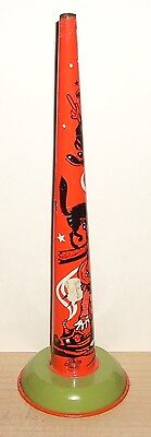 Vintage US Metal Toy Mfg CO Halloween Tin Noise Maker Horn 9.5 inch Made in USA