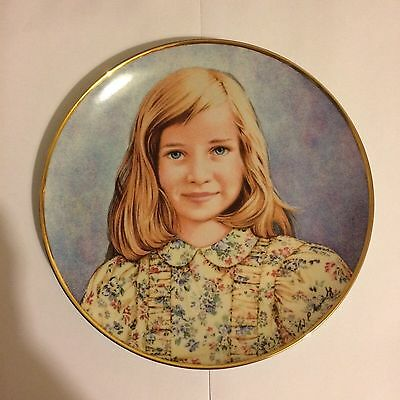 "LADY DIANA SPENCER FRANKLIN MINT PLATE ""THE PRINCESS AS A CHILD"" Limited Edition"