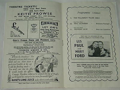 """THEATRE PROGRAMME """"Palladium""""..1950s..LES PAUL & MARY FORD +...FREE POSTAGE"""
