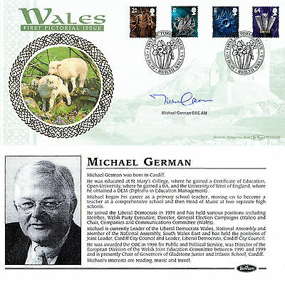 8 June 1999 All 4  Wales Definitives Benham Signed Michael German Fdc Shs