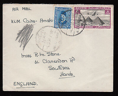 Egypt  1938 Air Mail Used Cover From Alexandria By K.l.m.cairo-Amsterdam