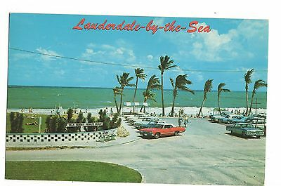 Vintage Postcard Lauderdale-by-the-Sea FL Florida Ocean Front Cars